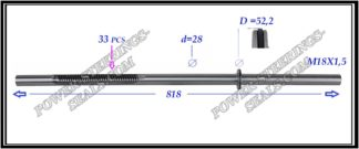 344.PS08 Rack (steering rack shaft) IVECO DAILY III, IV